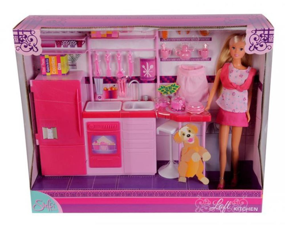 Papusi fashion Steffi Love - Set Papusa Steffi, cu mobilier bucatarie