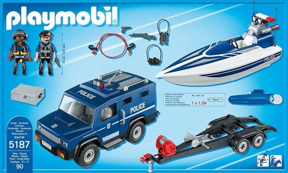 playmobil playmobil city action police camion de politie cu barca. Black Bedroom Furniture Sets. Home Design Ideas